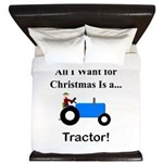 Blue Christmas Tractor King Duvet