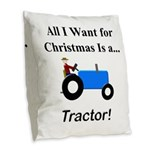 Blue Christmas Tractor Burlap Throw Pillow
