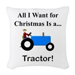Blue Christmas Tractor Woven Throw Pillow