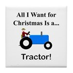 Blue Christmas Tractor Tile Coaster