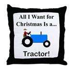 Blue Christmas Tractor Throw Pillow