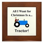 Blue Christmas Tractor Framed Tile