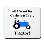 Blue Christmas Tractor Mousepad
