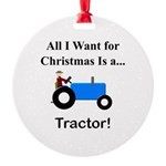 Blue Christmas Tractor Round Ornament