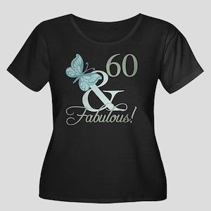 60th Bir Women's Plus Size Scoop Neck Dark T-Shirt