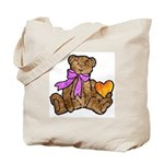 Valentine Art Teddy Bear and Heart Tote Bag