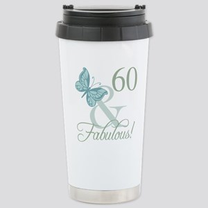 60th Birthday Butterfly Stainless Steel Travel Mug