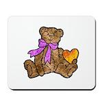 Valentine Art Teddy Bear and Heart Mousepad