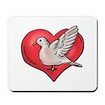 Valentine Art Heart and Bird Mousepad
