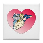 Valentine Art Heart and Angel Tile Coaster