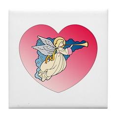 Valentine Art Heart and Angel Tile Coaster