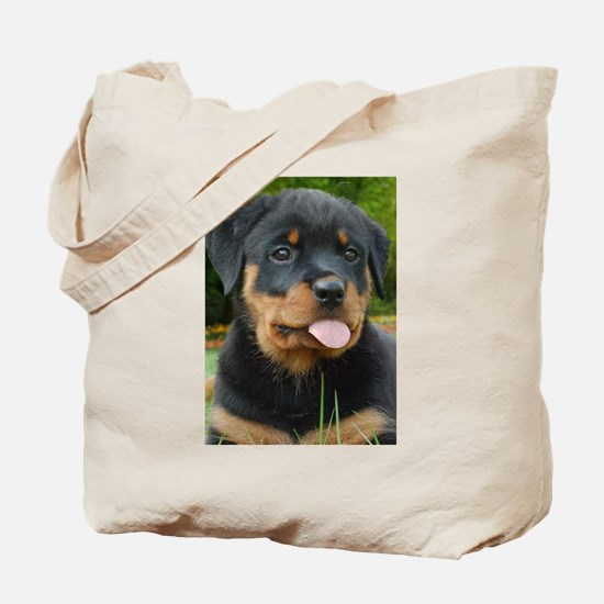 Rottie Puppy Face Tote Bag