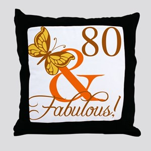 80th Birthday Butterfly Throw Pillow