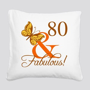 80th Birthday Butterfly Square Canvas Pillow