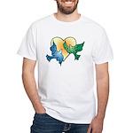 Valentine Art Birds and Heart White T-Shirt