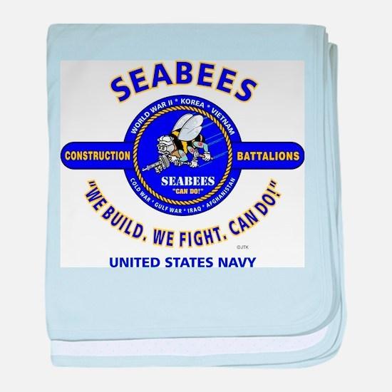 "SEABEES UNITED STATES NAVY ""WE BUILD, baby blanket"
