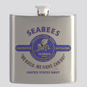 "SEABEES UNITED STATES NAVY ""WE BUILD, WE FIG Flask"