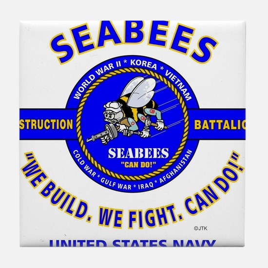 "SEABEES UNITED STATES NAVY ""WE BUILD, Tile Coaster"