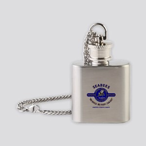 """SEABEES UNITED STATES NAVY """"WE BUIL Flask Necklace"""