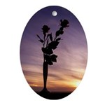 Red Roses At Sunset Ornament (Oval)