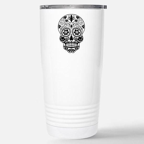 Sugar skull black and w Stainless Steel Travel Mug