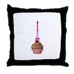 Cupcake purple Eiffel Tower Throw Pillow