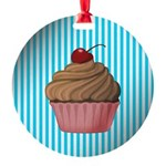 Pink Brown Cupcake on Teal Ornament