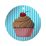 Pink Brown Cupcake on Teal Ornament (Round)