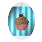 Pink Brown Cupcake on Teal Ornament (Oval)