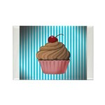 Pink Brown Cupcake on Teal Magnets