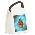 Pink Brown Cupcake on Teal Canvas Lunch Bag