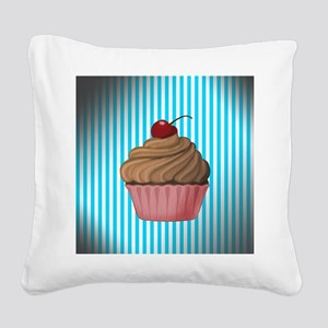Pink Brown Cupcake on Teal Square Canvas Pillow