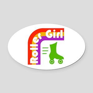 Roller Girl Oval Car Magnet
