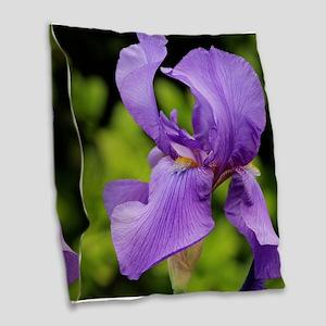 Purple Bearded Iris Burlap Throw Pillow