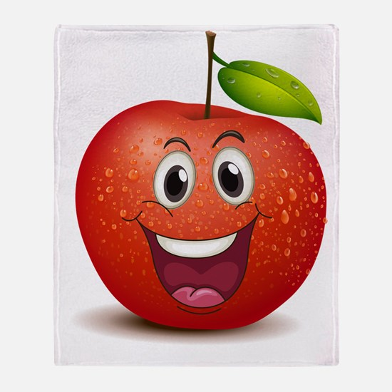 A smiling apple Throw Blanket