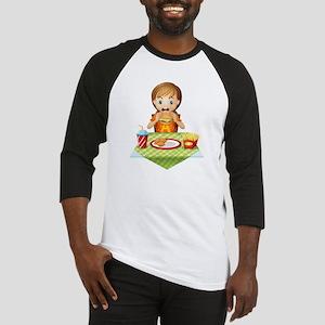A child eating at a fastfood resta Baseball Jersey
