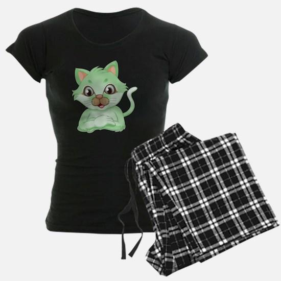 An adorable green cat Pajamas