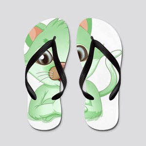 An adorable green cat Flip Flops