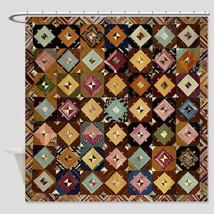 Vintage Graphic Pattern; Antique Art Shower Curtai