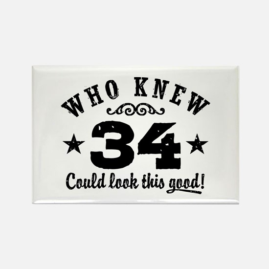 Funny 34th Birthday Rectangle Magnet