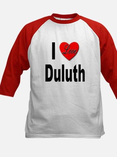 I Love Duluth (Front) Kids Baseball Jersey