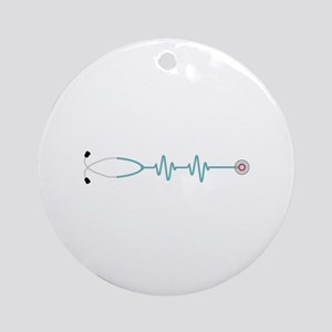 Stethescope Heart Rate Monitor Ornament (Round)