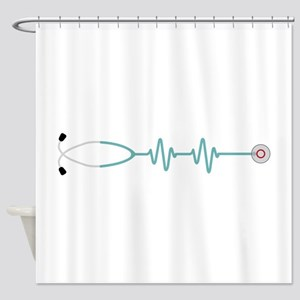 Stethescope Heart Rate Monitor Shower Curtain