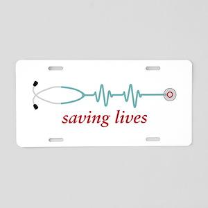 Saving Lives Aluminum License Plate