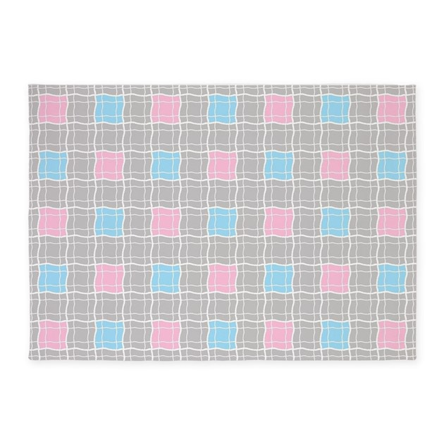 Red And White Checkered Rug: Pink And Blue Checkered Plaid 5'x7'Area Rug By Totallyfabulous