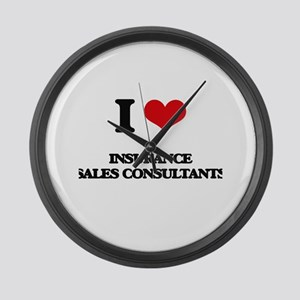 I love Insurance Sales Consultant Large Wall Clock