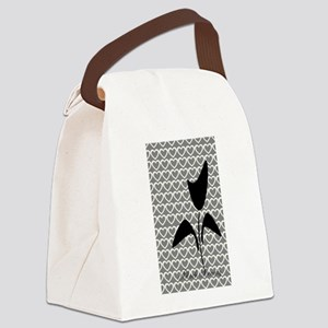 Cute Black Tulip Canvas Lunch Bag