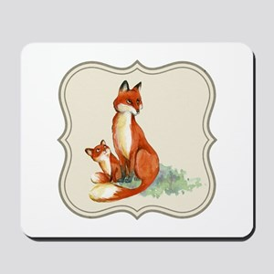 Vintage foxes watercolor painting Mousepad
