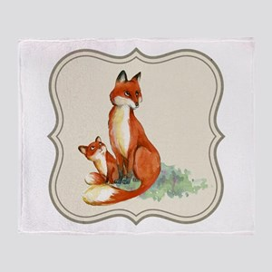Vintage foxes watercolor painting Throw Blanket