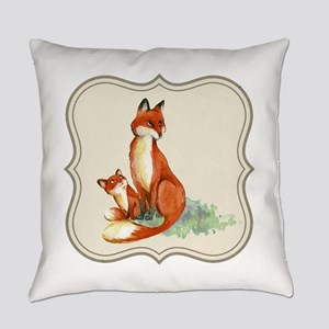 Vintage foxes watercolor painting Everyday Pillow